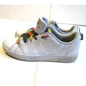 Girls Adidas White Lace Up Sneakers Sz 2 Leather